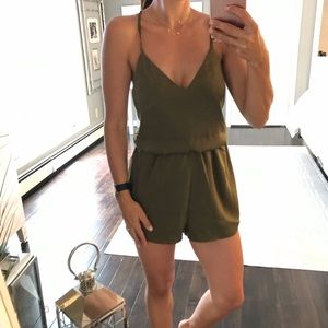 Olive green backless romper XS